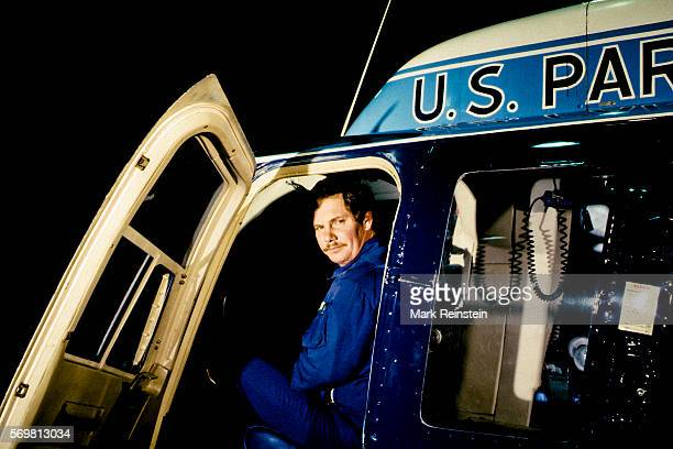 Portrait of US Park Police helicopter pilot Don Usher as he sits in the cockpit during a television interview Washington DC January 14 1982 The...