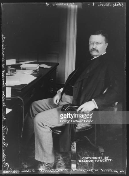 Portrait of US President Theodore Roosevelt as he poses, seated in a chair, 1905.