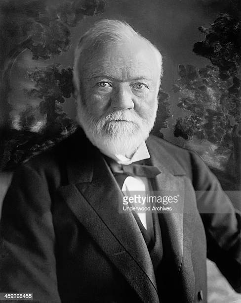 A portrait of US Steel founder and philanthropist Andrew Carnegie circa 1913