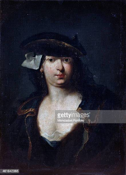 Portrait of venetian noblewoman with cocked hat and mask aside of the hat by unknown venetian artist 1760 1780 18th century oil on canvas Italy...