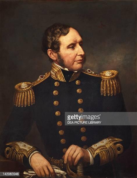 Portrait of Vice Admiral Robert Fitzroy English navigator and meteorologist portrait by Samuel Lane