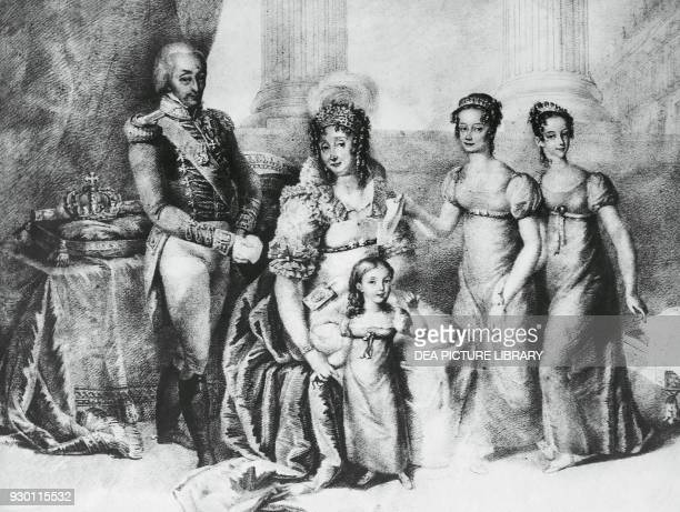 Portrait of Victor Emmanuel I King of Sardinia and Duke of Savoy Piedmont and Aosta with his wife Maria Theresa of AustriaEste and his daughters...