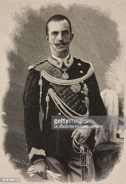 Portrait of Vittorio Emanuele of Savoy prince of Naples engraving by Ernesto Mancastropa after a photo from L'Illustrazione Italiana Year XX No 23...