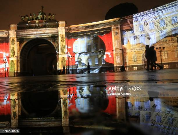 Portrait of Vladimir Lenin is seen during the light show 1917 on General Staff building to mark the 100th anniversary of the Bolshevik Revolution in...
