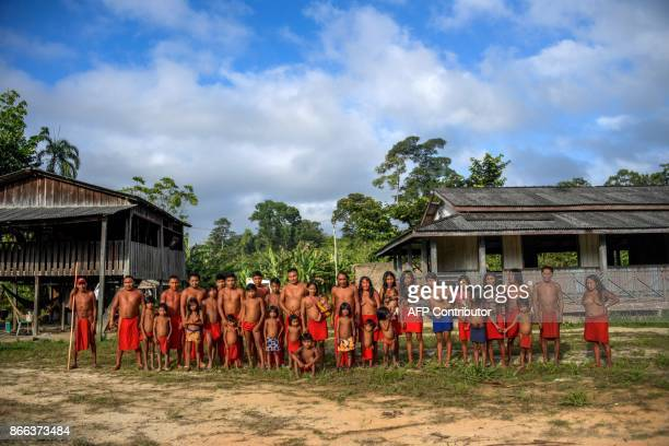 Portrait of Waiapi people in Manilha village at the Waiapi indigenous reserve in Amapa state in Brazil on October 15, 2017. The Waiapi are one of the...
