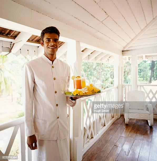 portrait of waiter with tray - hugh sitton stock-fotos und bilder