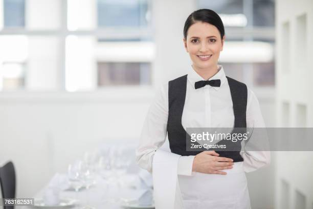 Portrait of waitress in restaurant