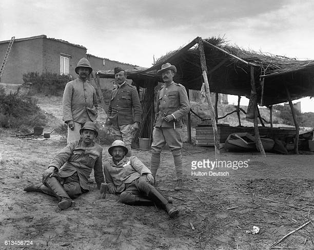 Portrait of war correspondents on Glovers Island. Rudyard Kipling is in the bottom right of the picture.   Location: Glovers Island, South Africa.