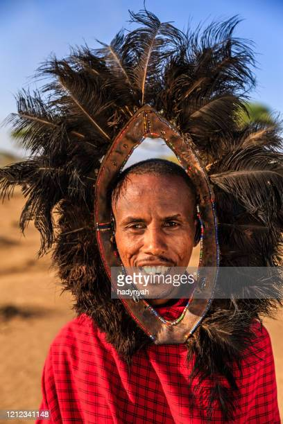 portrait of warrior from maasai tribe, kenya, africa - ostrich feather stock pictures, royalty-free photos & images