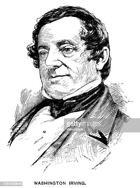 portrait of washington irving, american short-story writer, essayist, biographer, historian, and diplomat - diplomacy stock pictures, royalty-free photos & images