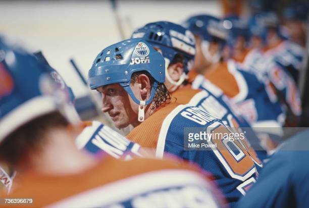 Portrait of Wayne Gretzky of the Edmonton Oilers sitting on the bench during the National Hockey League Smythe Division in the Campbell Conference...