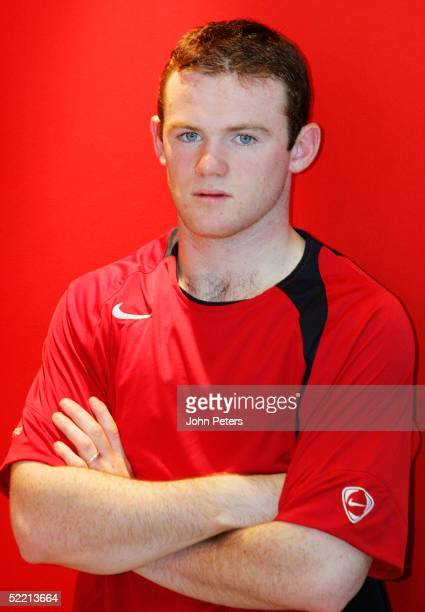 A portrait of Wayne Rooney during a photoshoot at Carrington Training Ground on December 22 2004 in Manchester England