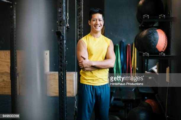 portrait of weight exercise enthusiast - focus on background stock pictures, royalty-free photos & images