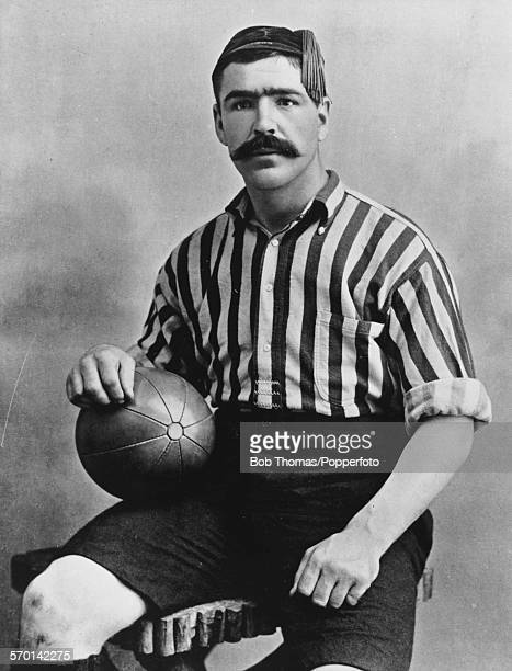 Portrait of Welsh international football player Caesar Jenkyns posed wearing Woolwich Arsenal kit circa 1895