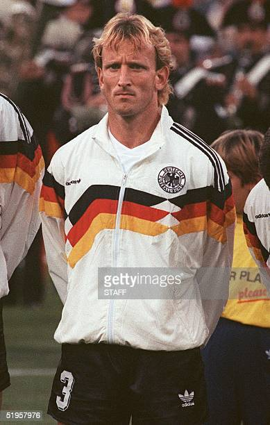 Portrait of West German defender Andreas Brehme taken 08 July 1990 in Rome before the start of the World Cup final against Argentina AFP PHOTO