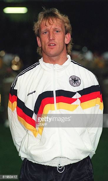 Portrait of West German defender Andreas Brehme taken 28 February 1990 in Montpellier south of France before the start of a friendly soccer match...