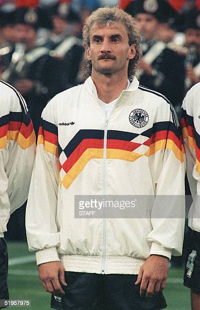 Portrait of West German forward Rudi Voeller taken 08 July 1990 in Rome before the start of the World Cup final against Argentina AFP PHOTO