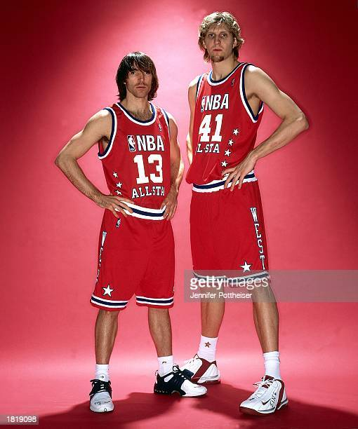 Portrait of Western Conference AllStars Steve Nash and Dirk Nowitzki of the Dallas Mavericks before the 52nd AllStar Game at Phillips Arena on...