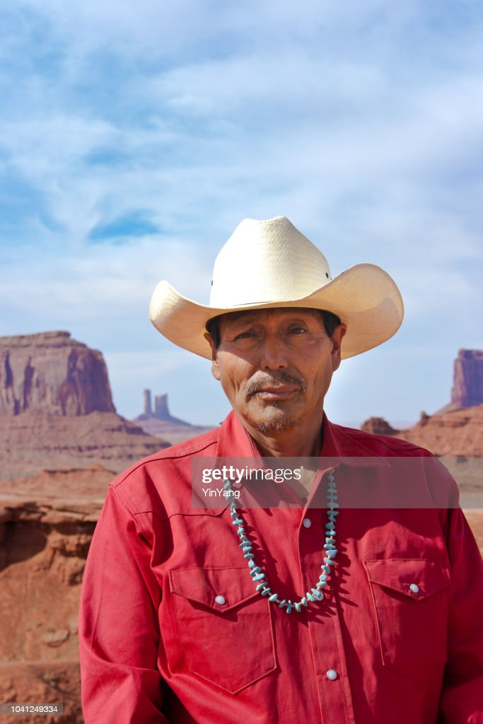 Portrait of Western Cowboy Native American at Monument Valley Tribal Park : Stock Photo