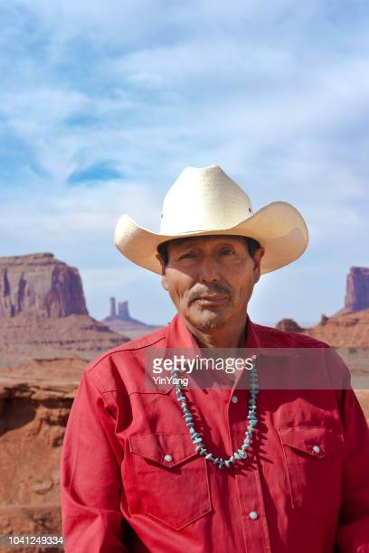 Portrait of Western Cowboy Native American at Monument Valley Tribal Park