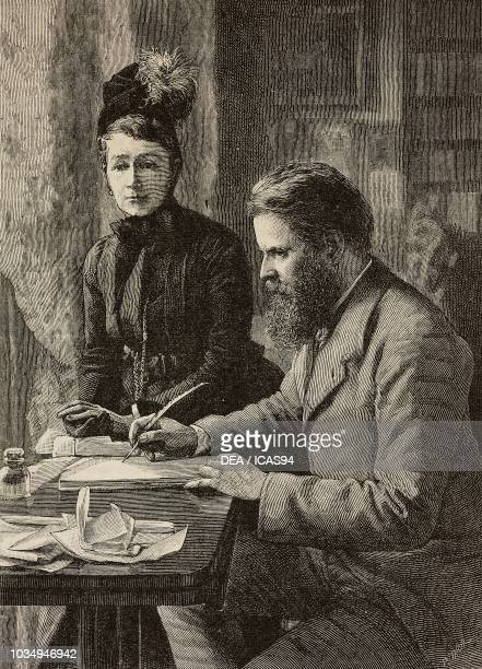 Portrait of Wilfrid Scawen Blunt English poet and writer with his wife Lady Anne Blunt engraving by Richard Taylor from The Illustrated London News...