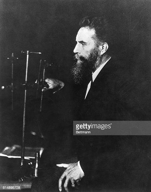 Portrait of Wilhelm Roentgen , German physicist, discovered X-rays. Undated photograph.