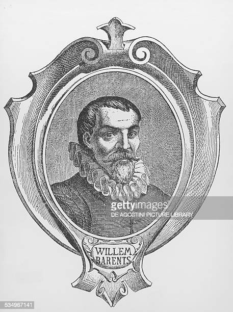 Portrait of Willem Barents explorer and navigator engraving Holland 16th century