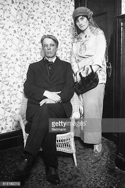 Portrait of William Butler Yeats , Irish playwright and founder of the Abbey Theatre in Dublin. Photograph shows Yeats with his wife during visit to...