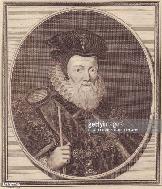 Portrait of William Cecil 1st Baron Burghley copper engraving by John Goldar from a painting by G Kneller 19x16 cm from History of England by Paul de...