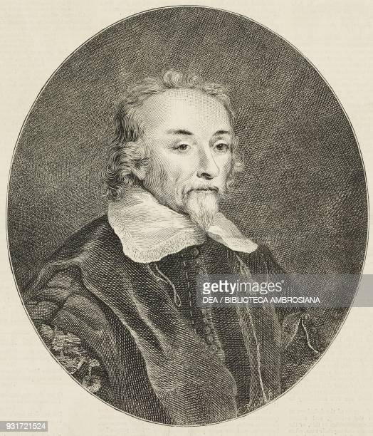 Portrait of William Harvey April 1 1578June 3 1657 English physician Tercentenary of the discovery of the circulation of the blood illustration from...