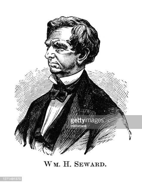 portrait of william henry seward, prominent figure in the republican party and opponent of the spread of slavery - governor stock pictures, royalty-free photos & images