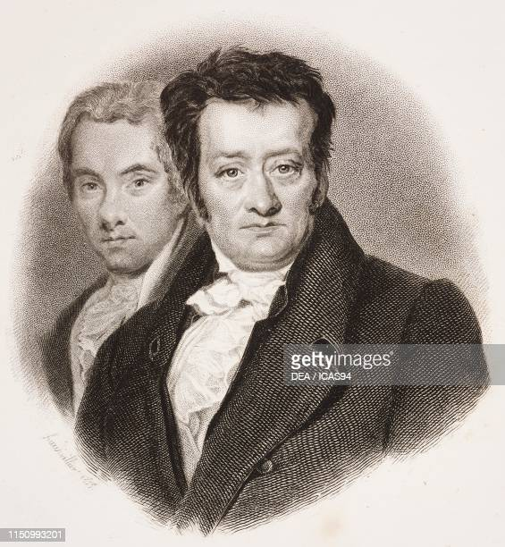 Portrait of William Wilberforce and Thomas Clarkson , English politicians and philanthropists, engraving from I benefattori dell'umanita ossia vite e...
