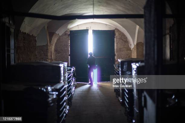 Portrait of wine producer Federico Perdisa in his vineyard wine cellar on March 28 2020 in Maggio Bologna Italy Federico Perdisa is a wine producer...