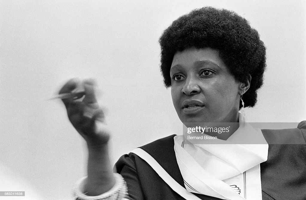 Portrait of Winnie Mandela, wife of Nelson Mandela, South African leader of the ANC (African National Congress) who has been in jail for 23 years for opposing the government.