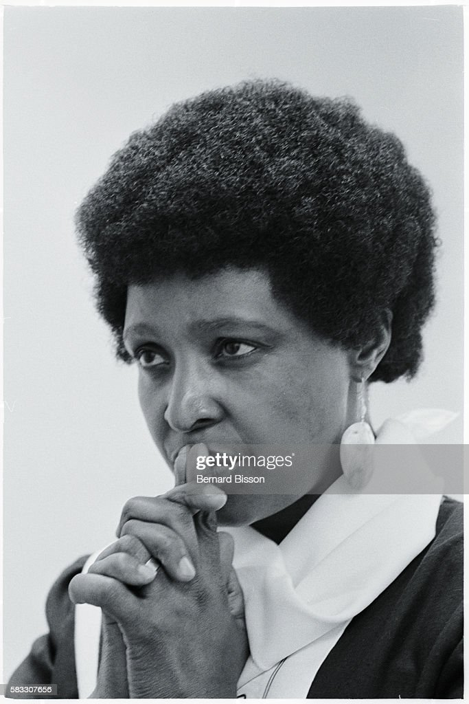 Portrait of Winnie Mandela, wife of Nelson Mandela, South African leader of the A.N.C. (African National Congress) who has been in jail for 23 years for opposing the government.