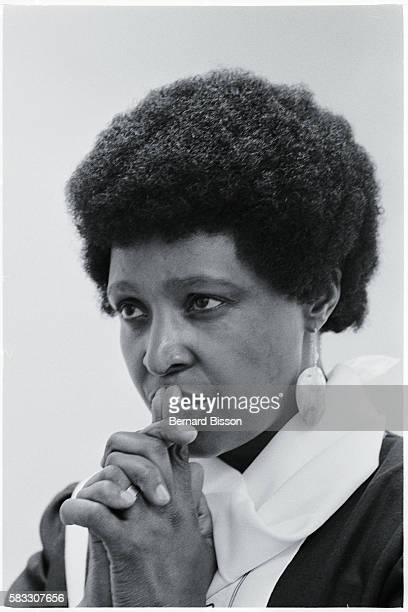 Portrait of Winnie Mandela wife of Nelson Mandela South African leader of the ANC who has been in jail for 23 years for opposing the government