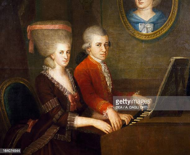 Portrait of Wolfgang Amadeus Mozart and his wife Constanze Weber Painting by Johann Nepomuk della Croce detail Salisburgo Mozarts Geburtshaus Museum