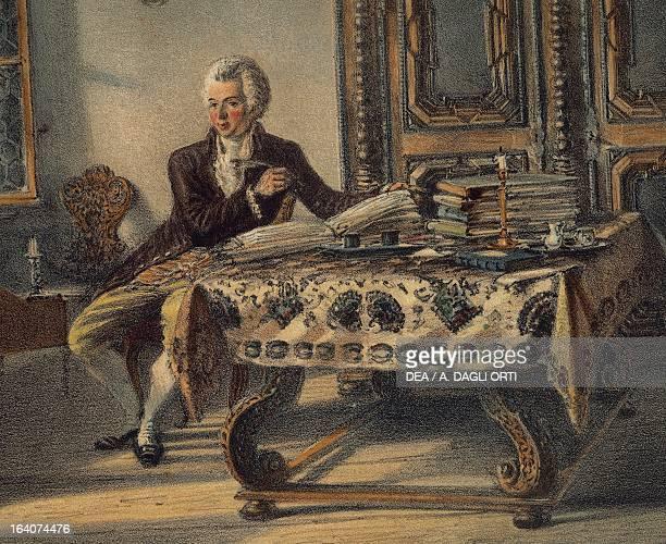 Portrait of Wolfgang Amadeus Mozart , Austrian composer, in his studio in Kahlenberg . Vienna, Historisches Museum Der Stadt Wien