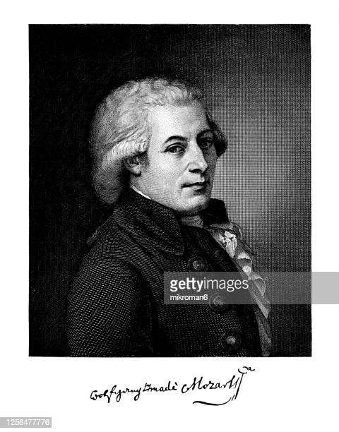 portrait of wolfgang amadeus mozart (27 january 1756 – 5 december 1791) johannes chrysostomus wolfgangus theophilus mozart - prolific and influential composer of the classical period. - wolfgang amadeus mozart stock pictures, royalty-free photos & images