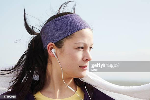 portrait of woman after exercise outside - headband stock pictures, royalty-free photos & images