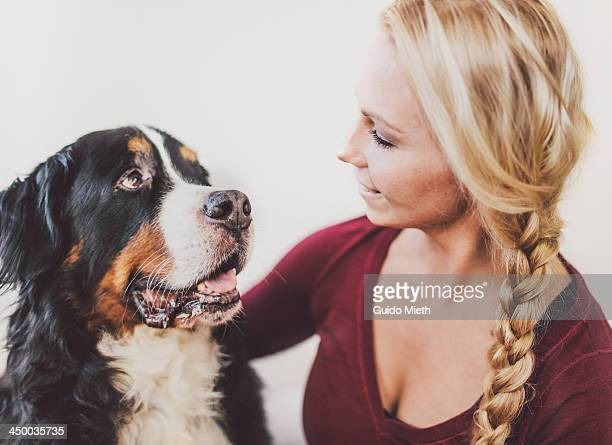 Portrait of woman and dog