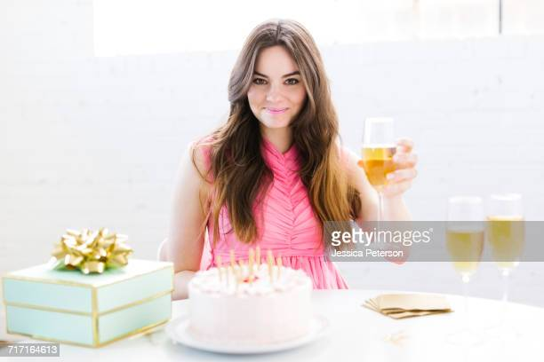 Portrait of woman at birthday party