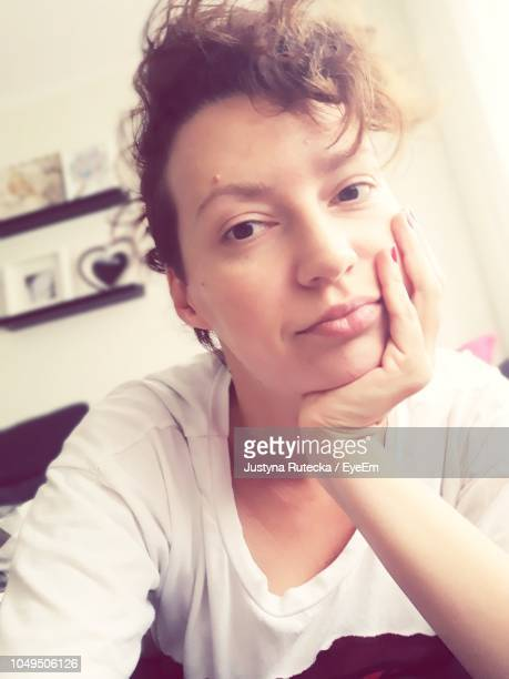 portrait of woman at home - no make up stock pictures, royalty-free photos & images