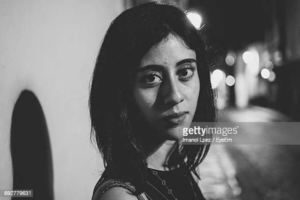 portrait of woman at night - mexico black and white stock pictures, royalty-free photos & images