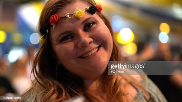 portrait of  woman at oktoberfest - in blumenau, santa catarina, brazil - santa face stock pictures, royalty-free photos & images