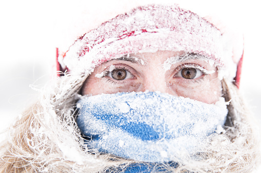 Portrait Of Woman Covered With Snow - gettyimageskorea