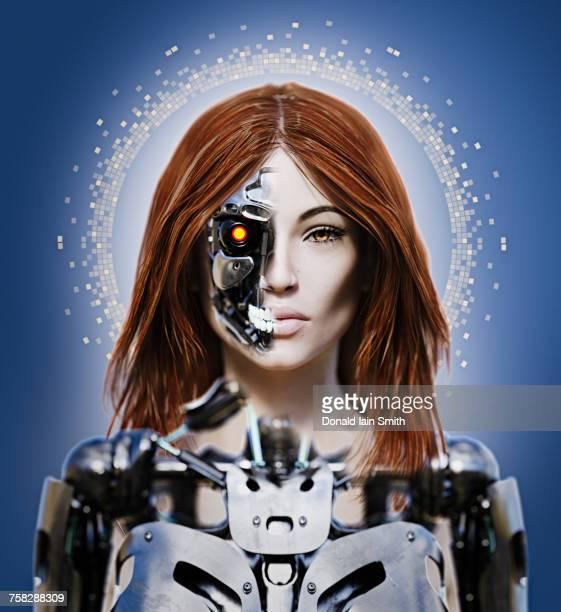 Portrait of woman cyborg
