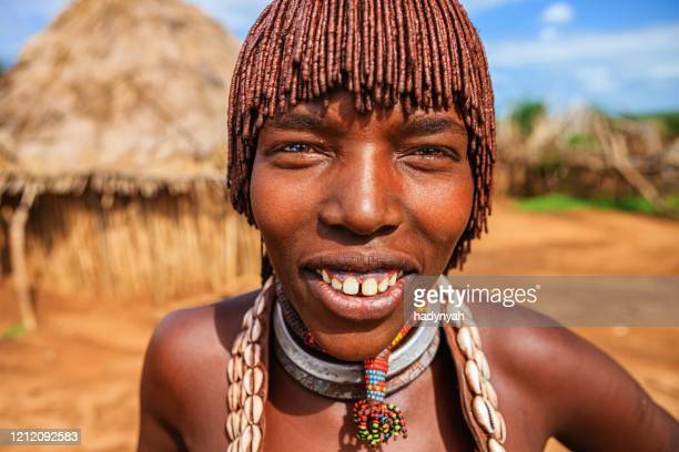 portrait of woman from hamer tribe, ethiopia, africa - africa stock pictures, royalty-free photos & images