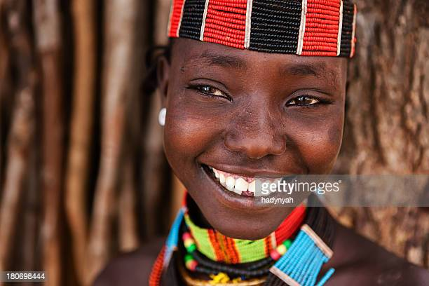 portrait of woman from hamer tribe, ethiopia, africa - ethiopia photos stock pictures, royalty-free photos & images