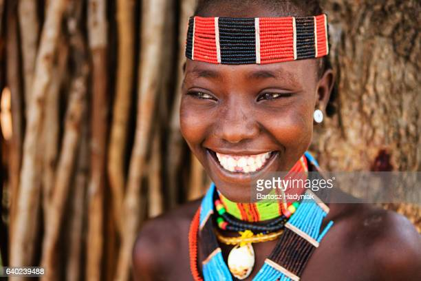 portrait of woman from hamer tribe, ethiopia, africa - african tribal culture stock pictures, royalty-free photos & images